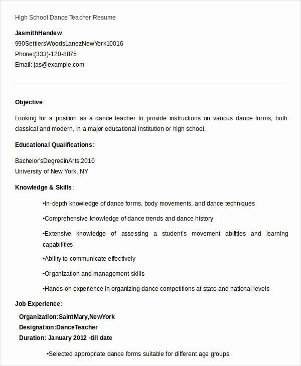 Dance Resume Template Microsoft Word Luxury 23 Professional Teacher Resume Templates Pdf Doc