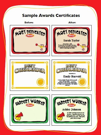 Dance Team Banquet Award Ideas Elegant Cheerleading Certificates Editable Cheerleader