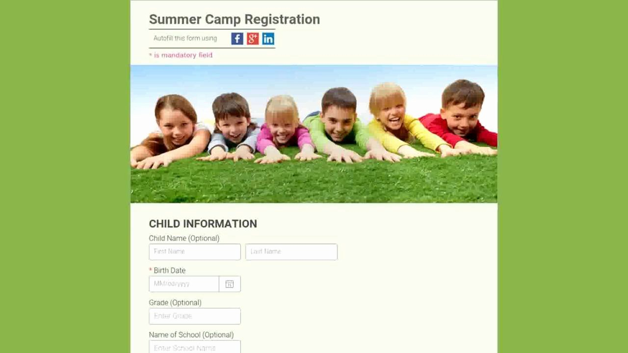 Day Camp Registration form Template Awesome Course Registration form Templates Templates