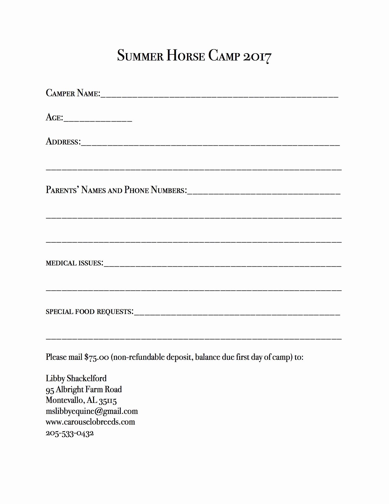 Day Camp Registration form Template Awesome Summer Horse Camp 2017