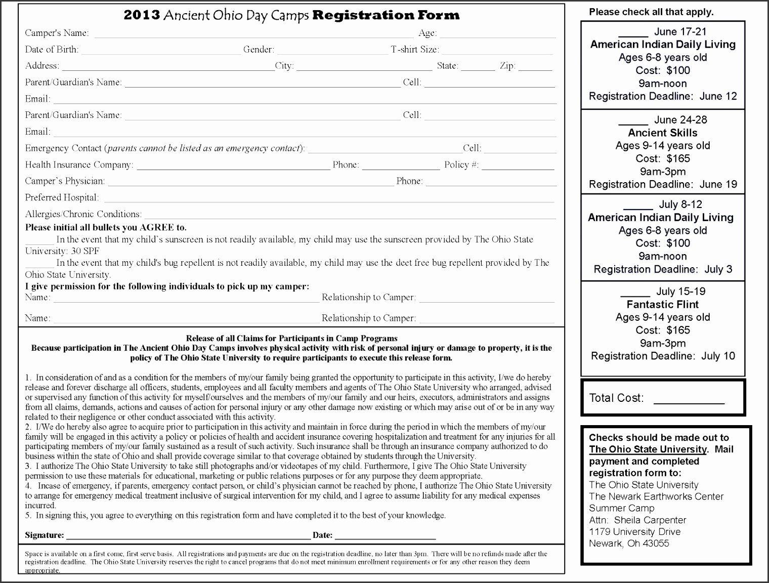 Day Camp Registration form Template Beautiful 6 Camp Registration form Templates Sampletemplatess