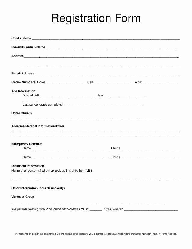 Day Camp Registration form Template Fresh Registration form Child's Name