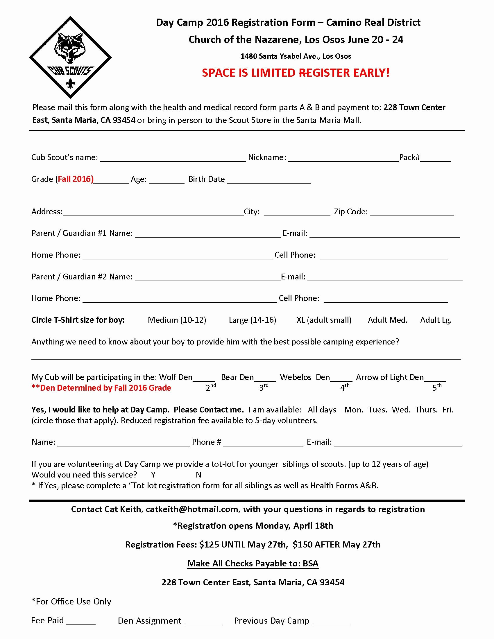 Day Camp Registration form Template Inspirational Registration form for 2016 Cub Day Camp