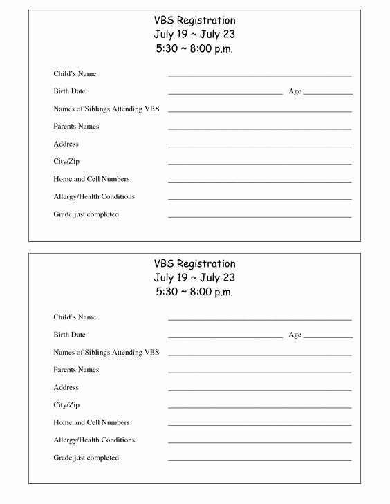 Day Camp Registration form Template Lovely Printable Vbs Registration form Template