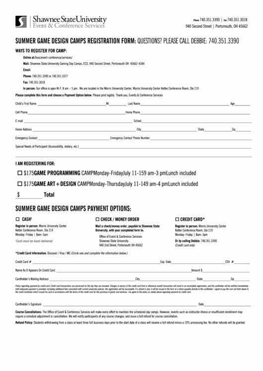 Day Camp Registration form Template Lovely Summer Game Design Camps Registration form Printable Pdf