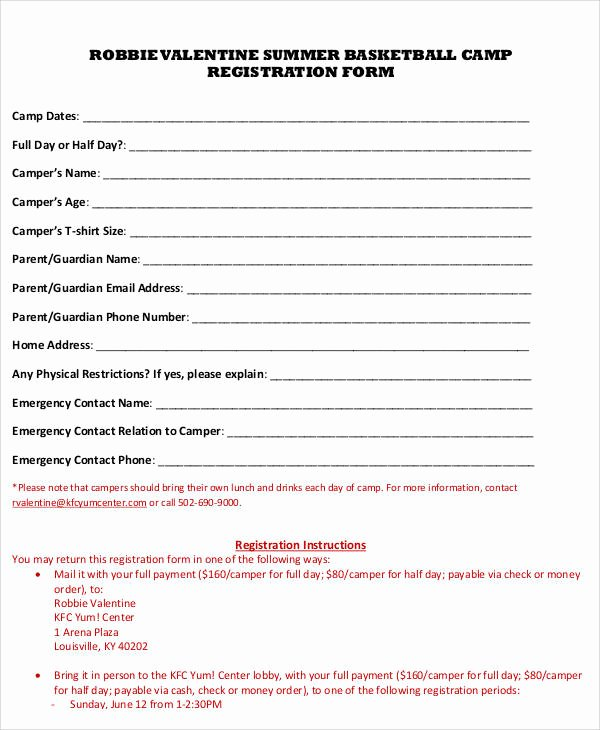 Day Camp Registration form Template Luxury 50 Registration forms In Pdf
