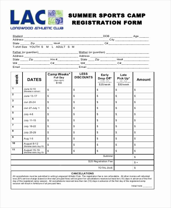 Day Camp Registration form Template New Free 10 Summer Camp Registration form Samples In Sample
