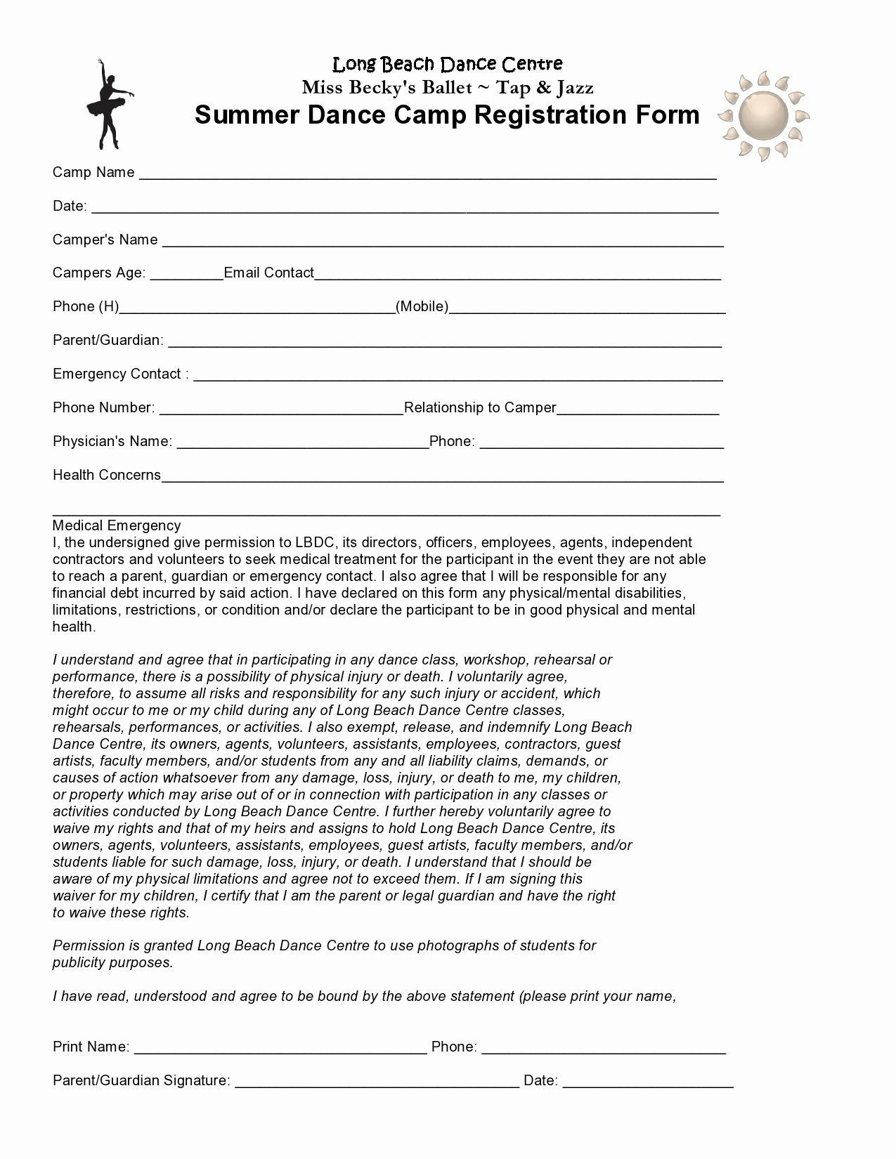 Day Camp Registration form Template New Go to Beckysdance