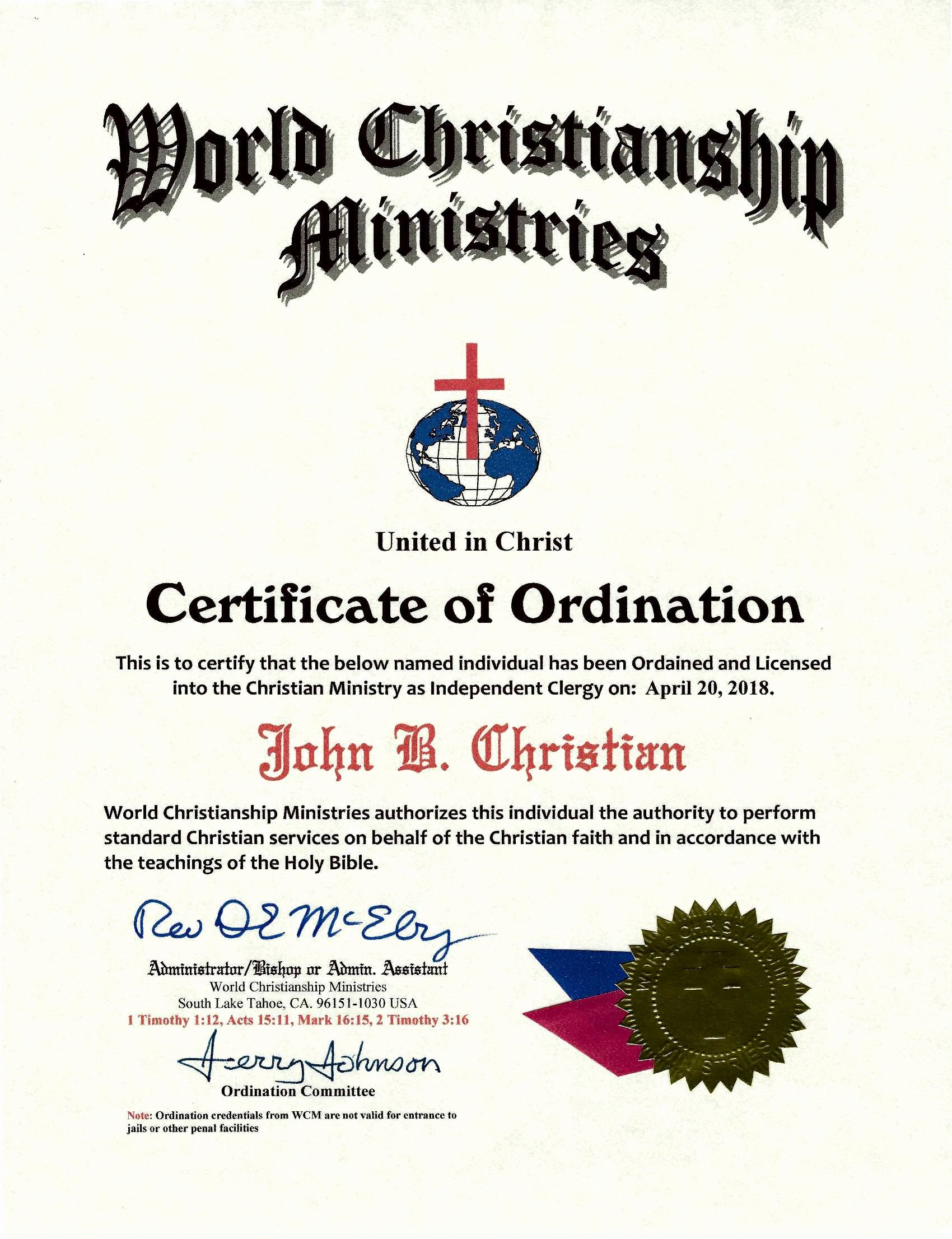 Deacon ordination Certificate Template Awesome Be ordained Line Best Site ordained Minister License