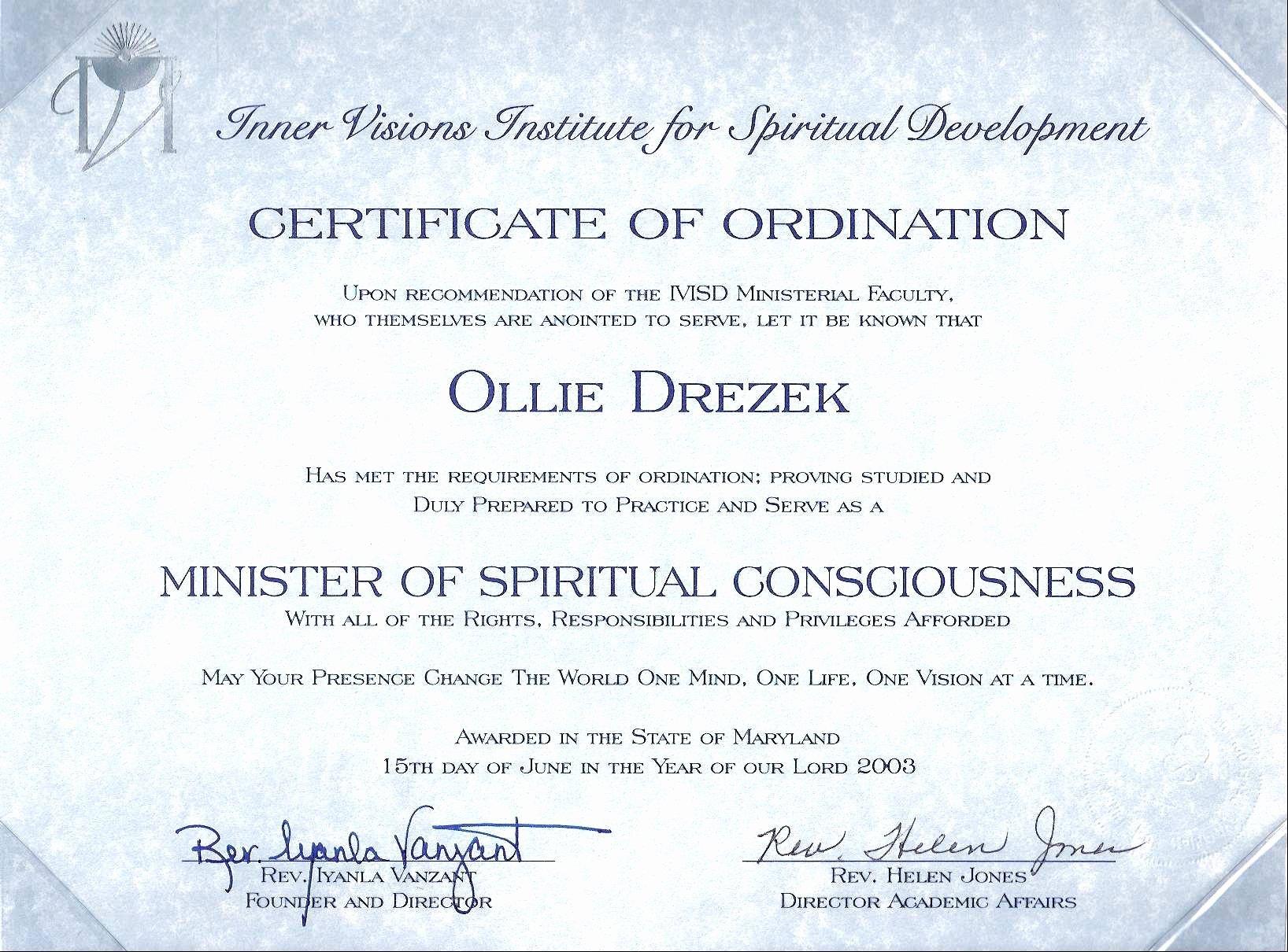 Deacon ordination Certificate Template Lovely Minister ordination Certificate Excellent Deacon