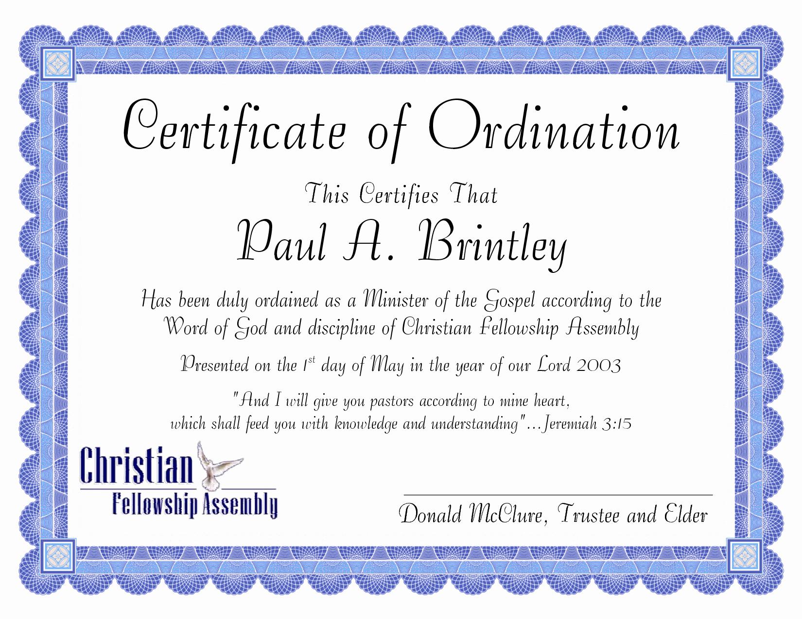 Deacon ordination Certificate Template Unique 10 Best Of Sample Ministers License Certificate