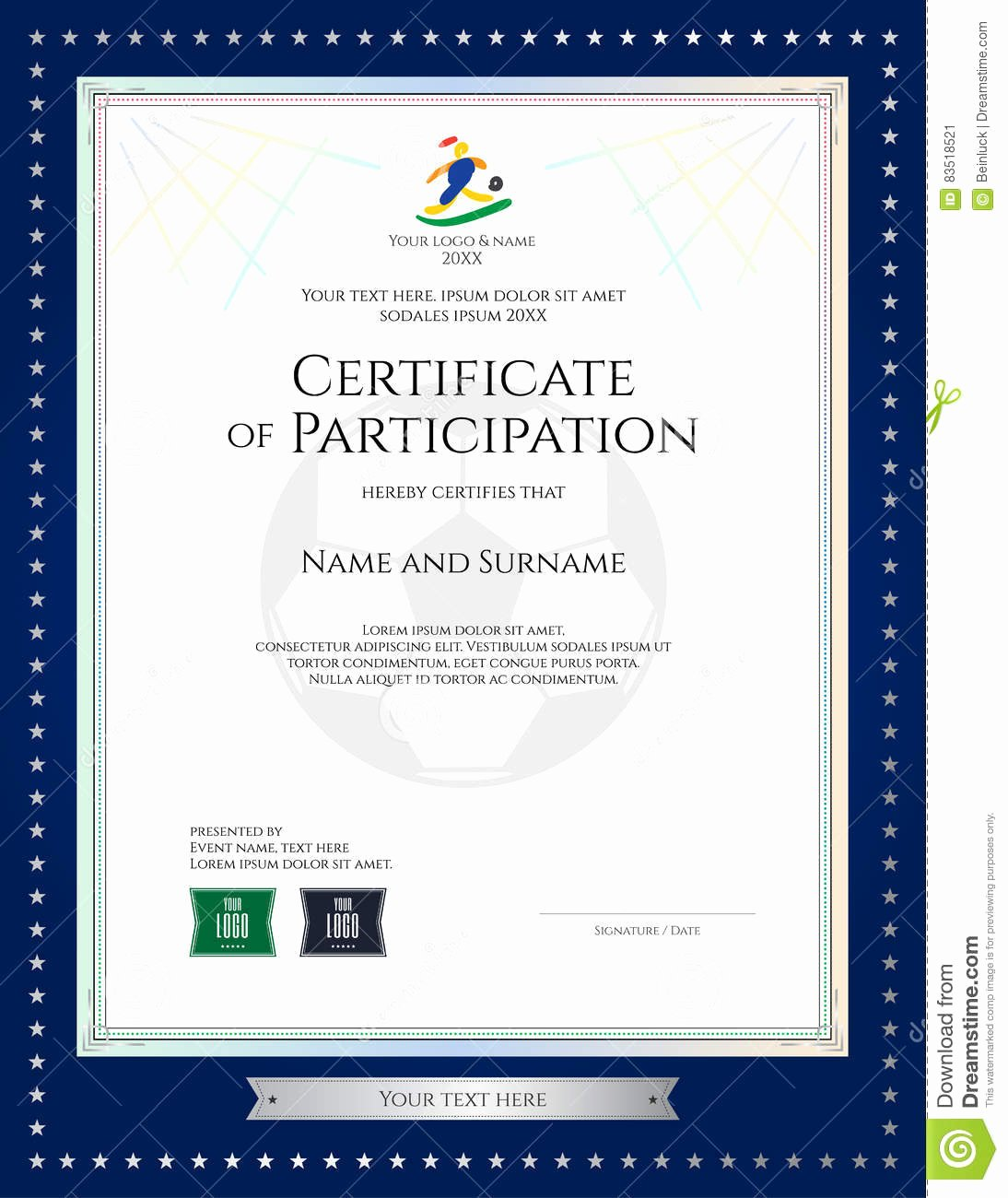 Dealer Participation Certification form Inspirational Certificate Participation Template In Sport theme