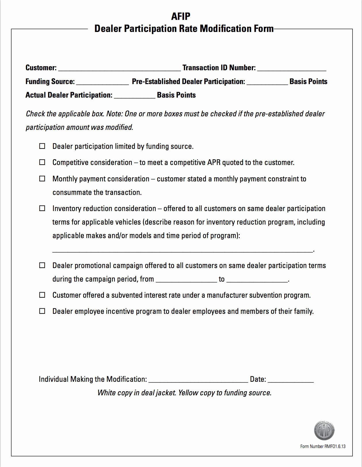 Dealer Participation Certification form Inspirational Rate Modification form