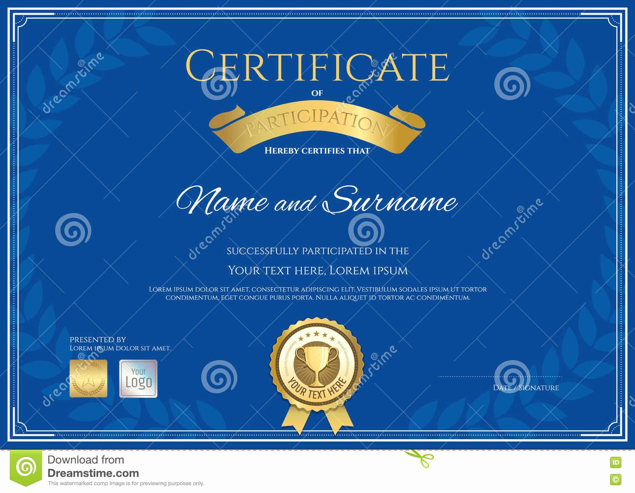 Dealer Participation Certification form New Certificate Participation Template In Gold Color Vector