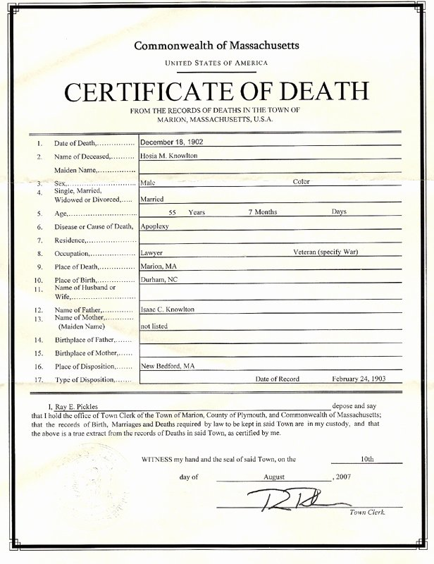Death Certificate Template Microsoft Word Best Of August 2007