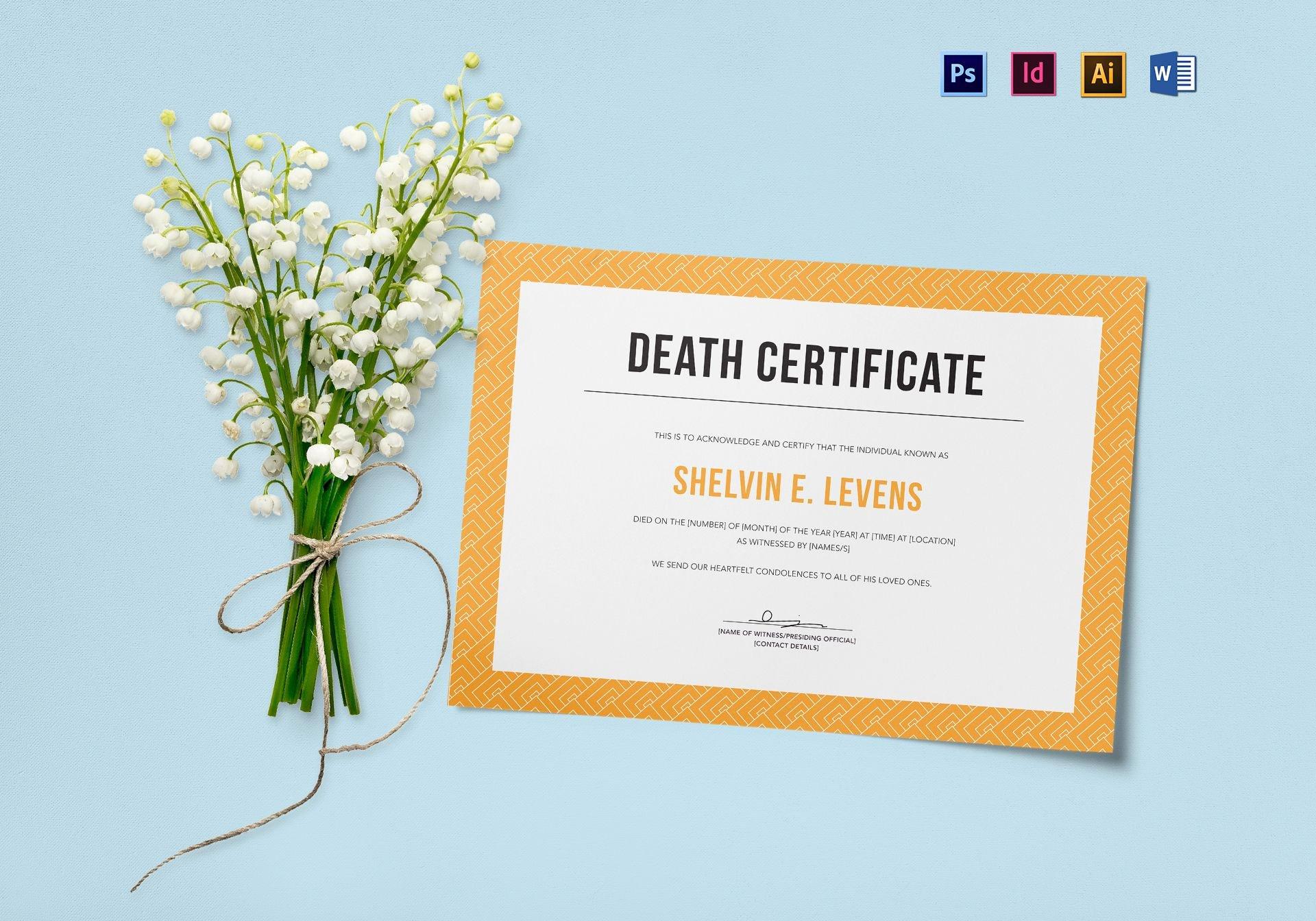 Death Certificate Template Word Unique Death Certificate Design Template In Psd Word