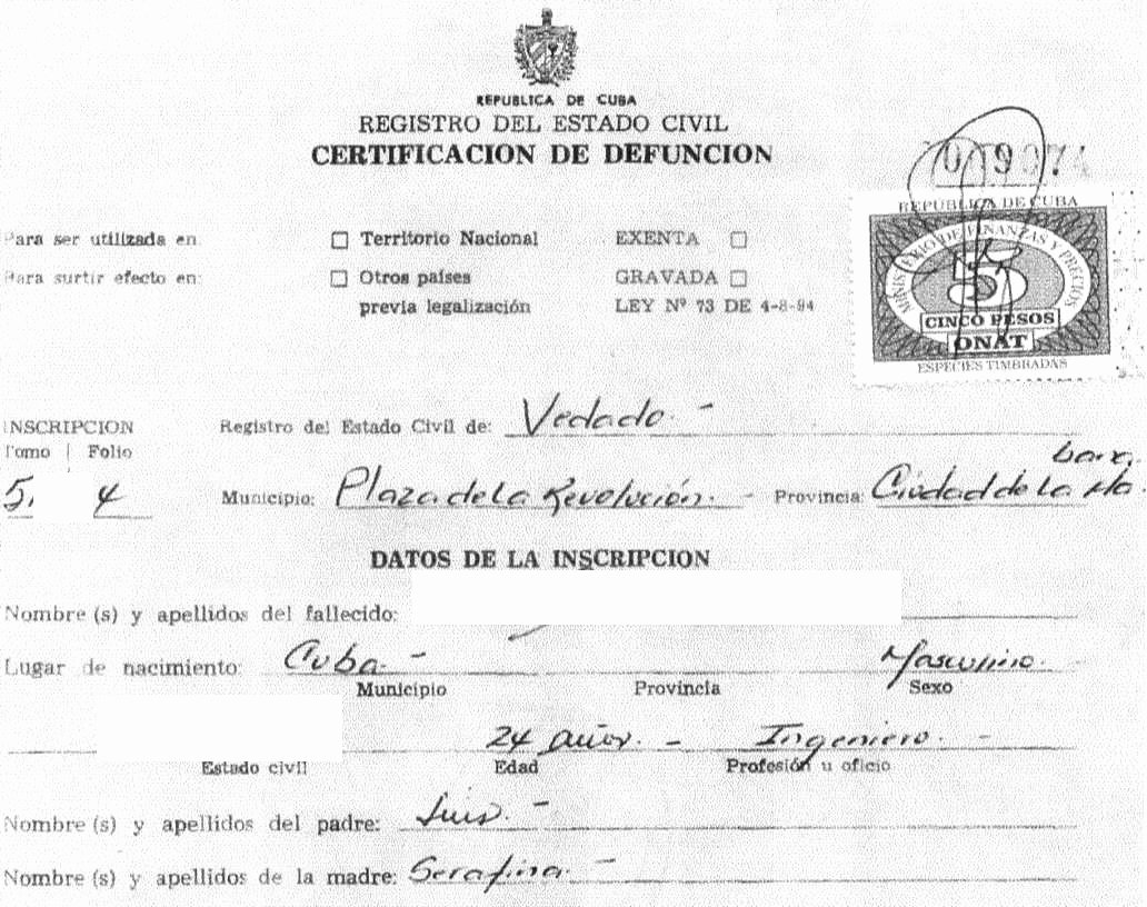 Death Certificate Translation Template Beautiful Cuban Death Certificate Cubacityhall