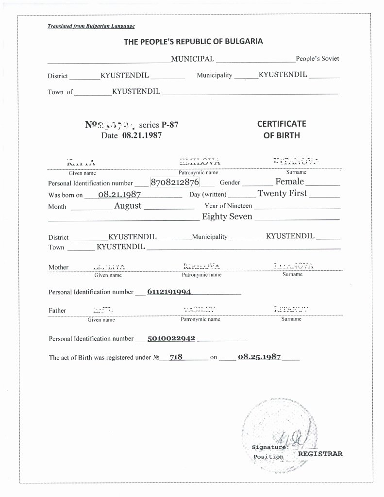 Death Certificate Translation Template English to Spanish Beautiful Bulgarian Translation Services Apoling solutions