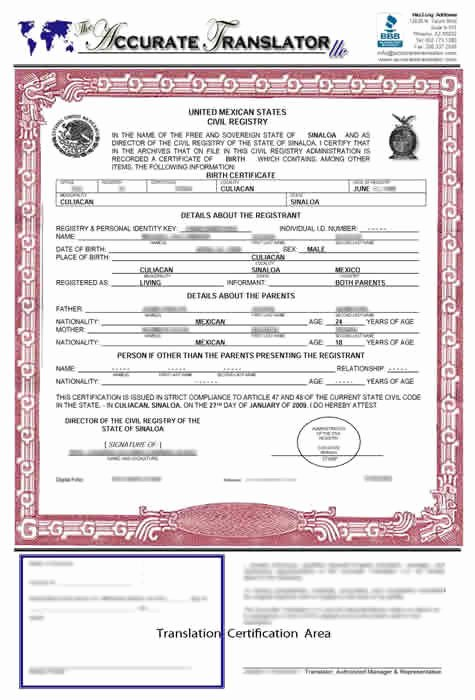Death Certificate Translation Template English to Spanish Elegant Birth Certificate Translation Of Public Legal Documents