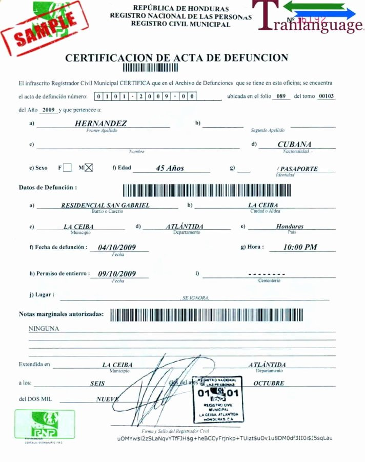Death Certificate Translation Template English to Spanish Inspirational Certificate Template Death Translation Sample Mexican