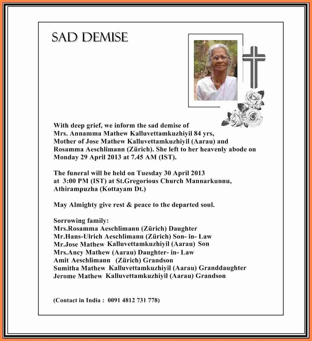 Death Notification Letter to Friends Fresh 6 Bereavement Notice Examples