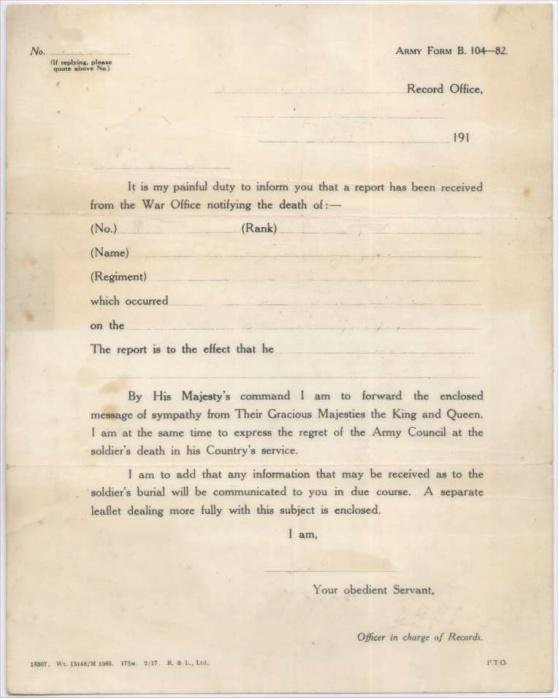 Death Notification Letter to Friends Luxury Ww1 Notification Deaths Sheffield War Years and the