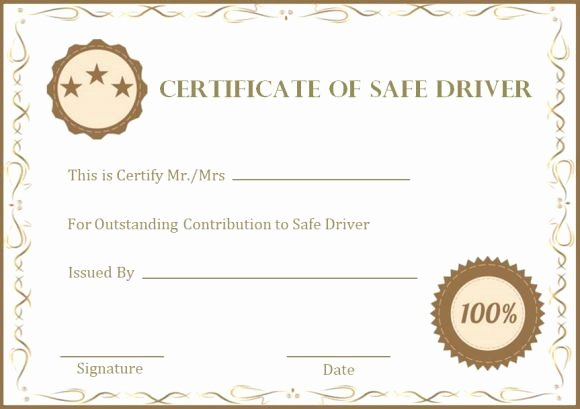 Defensive Driving Certificate Template Awesome Safe Driver Certificate