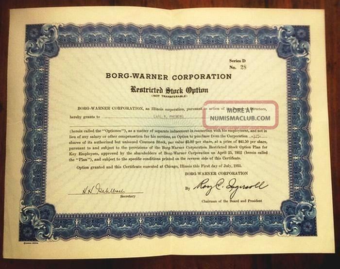 Defensive Driving Certificate Template Elegant Borg Warner Restricted Stock Option Certificate 1955 10x13