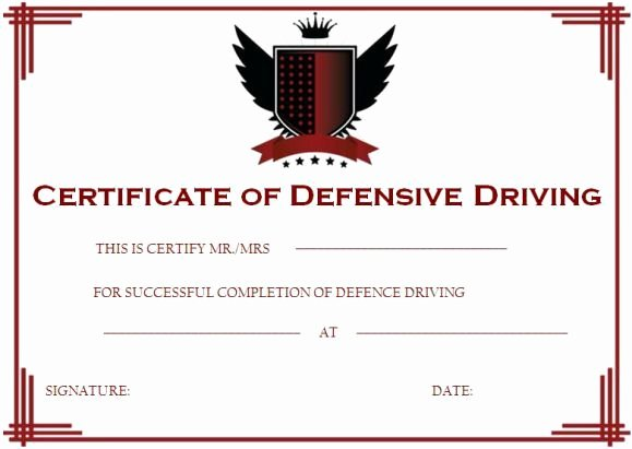 Defensive Driving Certificate Template Lovely Defensive Driving Certificate