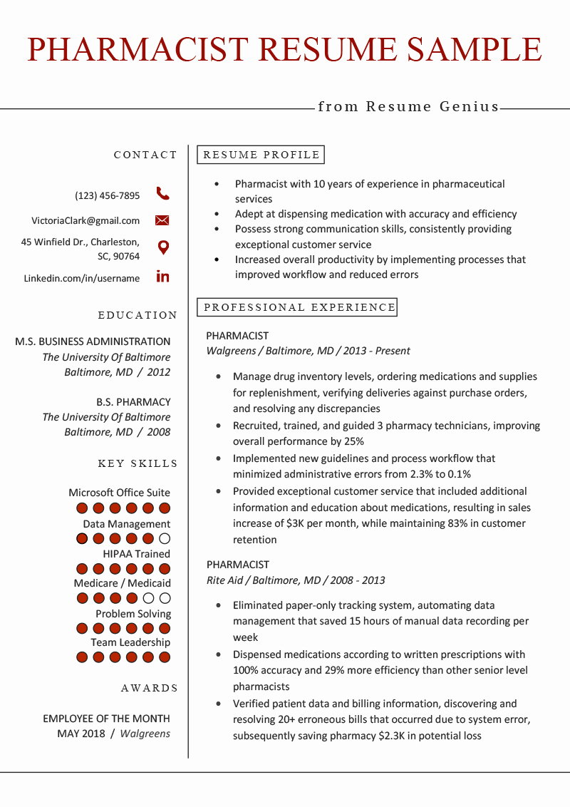 Degree In Progress On Resume Best Of Pharmacist Resume Sample & Writing Tips