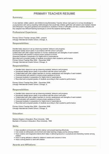 Degree In Progress On Resume Best Of Primary Teacher Resume