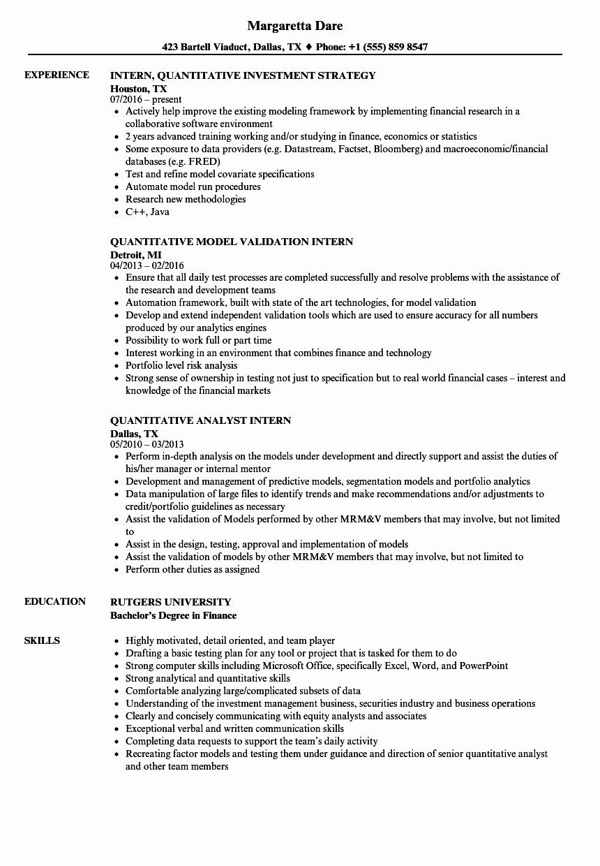 Degree In Progress On Resume Fresh Quantitative Intern Resume Samples