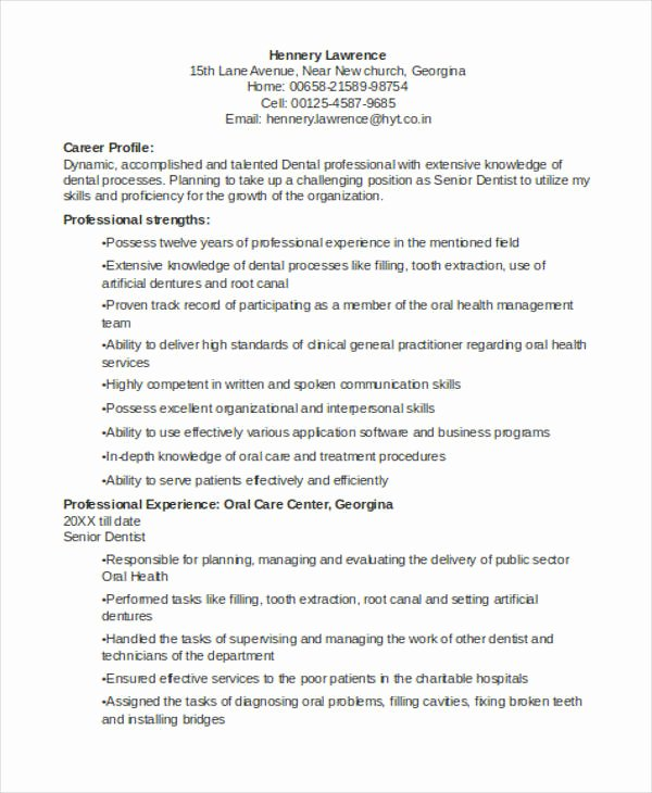 Dentist Cv Sample Pdf Beautiful Dentist Curriculum Vitae Templates 8 Free Word Pdf