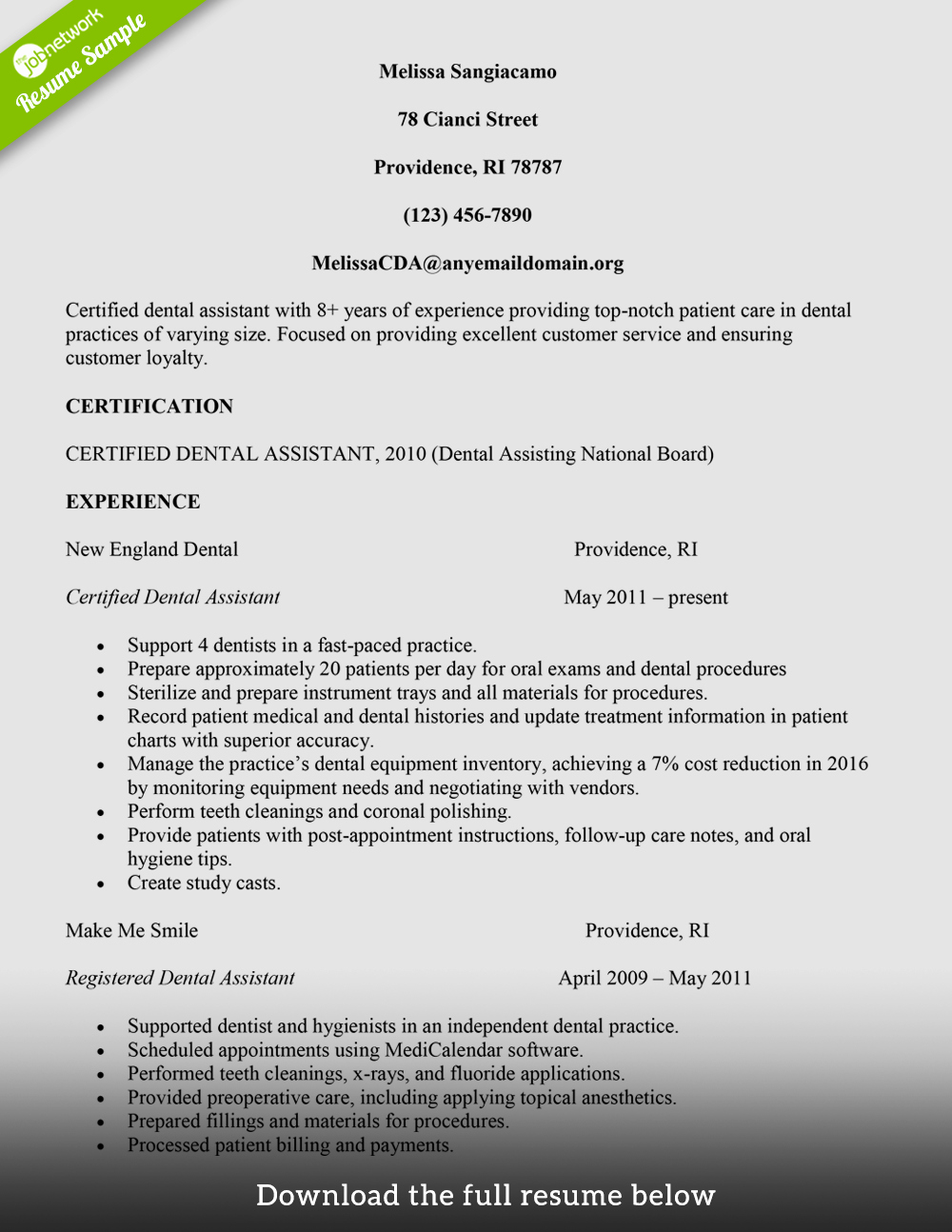 Dentist Cv Sample Pdf Inspirational How to Build A Great Dental assistant Resume Examples