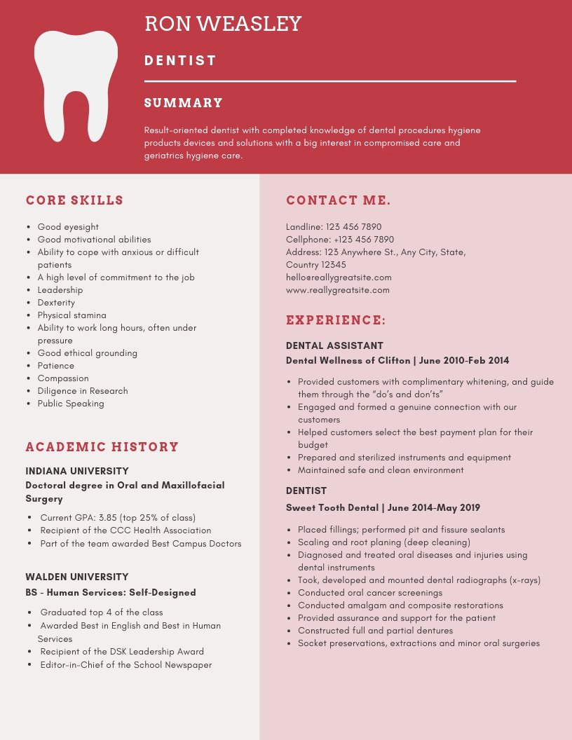 Dentist Cv Sample Pdf Lovely Dentist Resume Samples and Tips [pdf Doc Templates] 2019