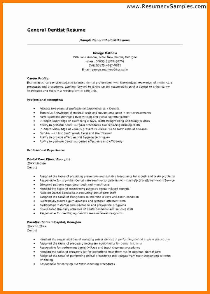 Dentist Cv Sample Pdf New 8 Cv Template Dentist