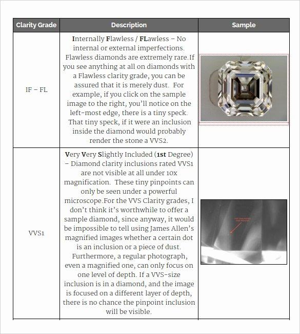 Diamond Carat Size Chart Pdf Elegant Diamond Clarity Chart – 8 Free Word Pdf Documents