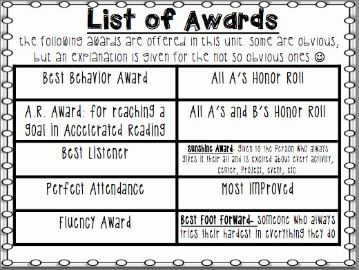 Different Kinds Of Awards Fresh Life In First Grade End Of the Year Awards