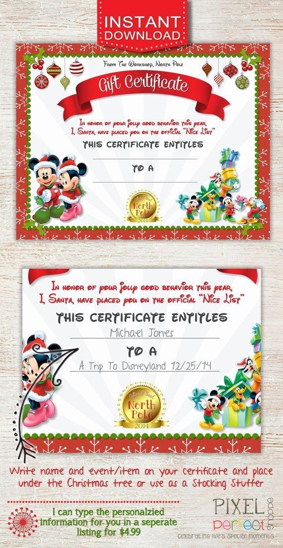 Disney Gift Certificate Template Beautiful Christmas Gift Certificate Disney Trip Gift Certificate