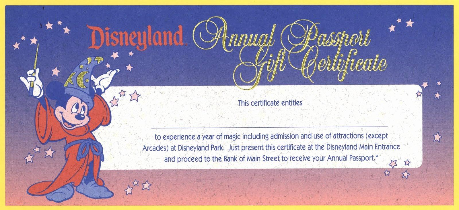 Disney Gift Certificate Template Fresh Vintage Disneyland Tickets Disneyland Annual Passport