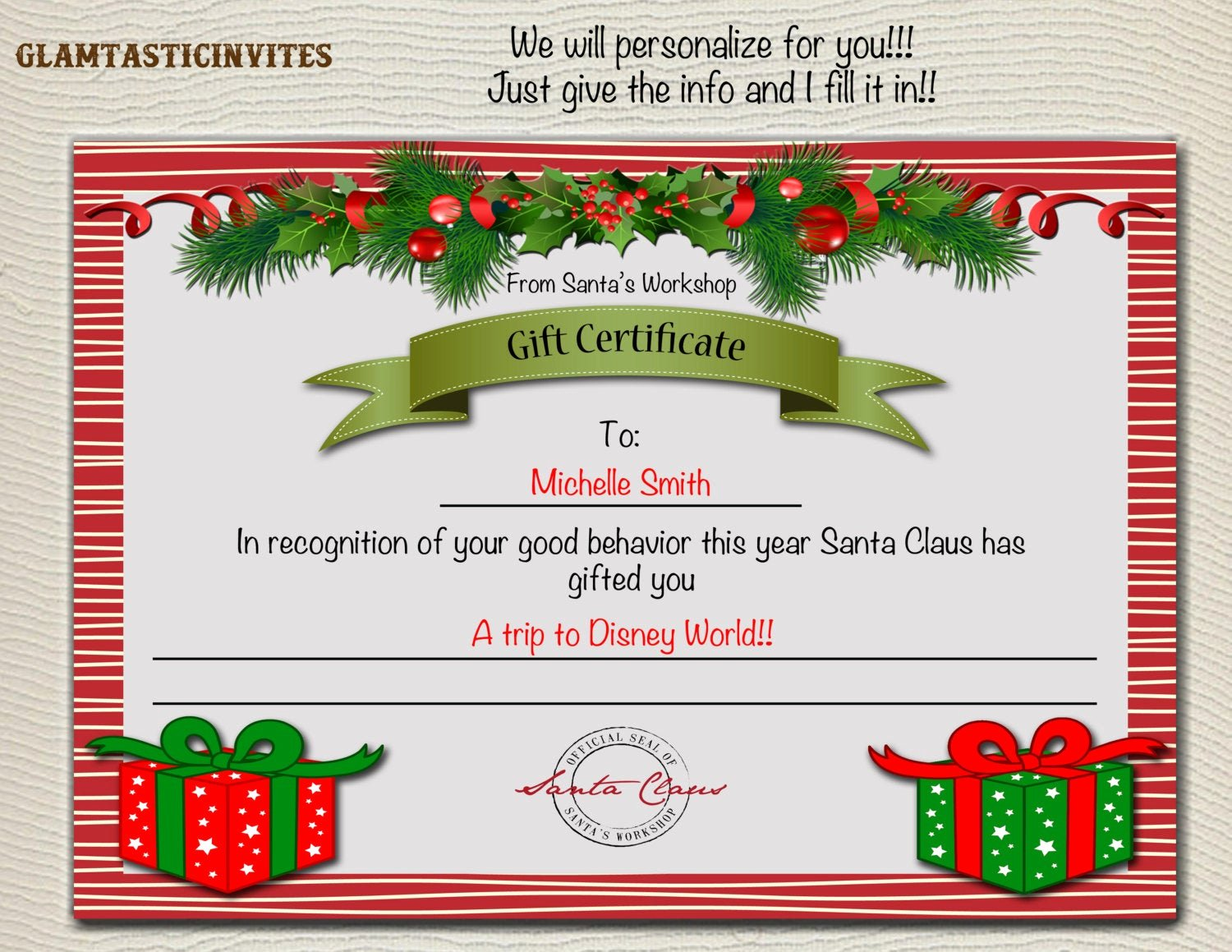 Disney Gift Certificate Template Inspirational Christmas Gift Certificate Christmas Trip Gift Certificate