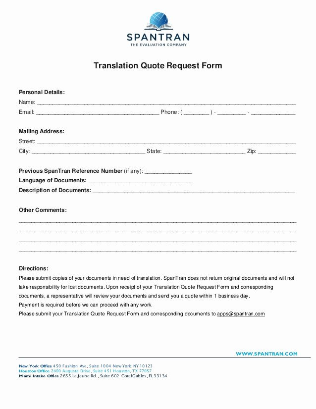 Divorce Certificate Translation From Spanish to English Template Luxury Translation Quote Request form