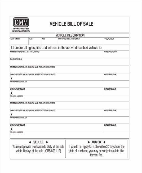 Dmv Bill Of Sales form Beautiful Free 8 Dmv Bill Of Sale form Samples