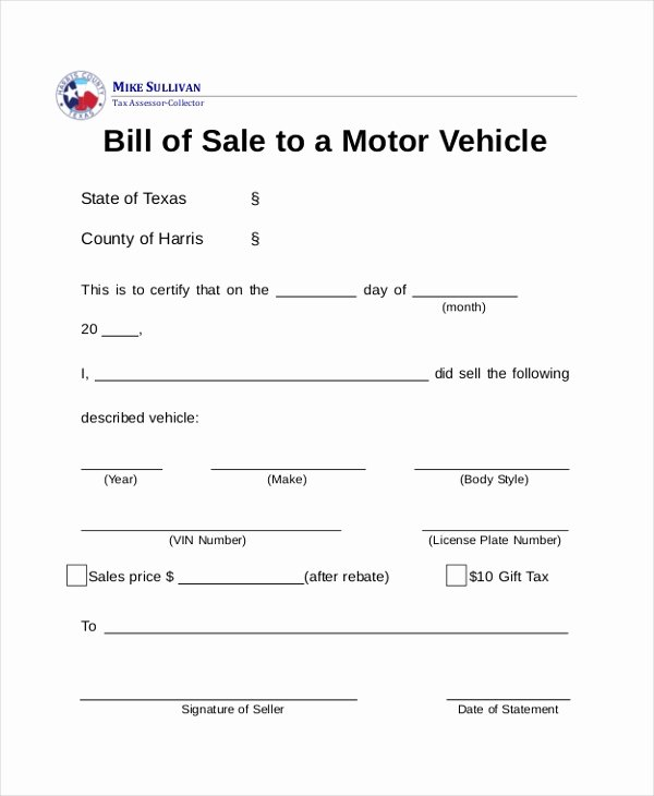 Dmv Bill Of Sales form Inspirational Free 8 Dmv Bill Of Sale form Samples