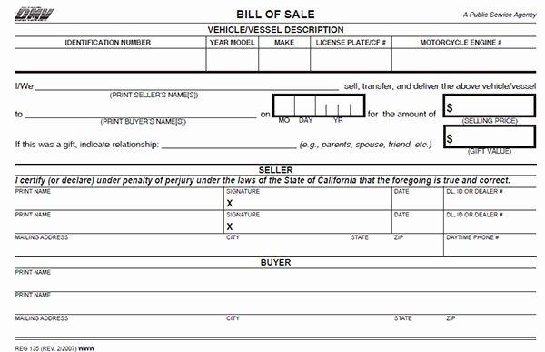 Dmv Bill Of Sales form Luxury California Bill Of Sale form
