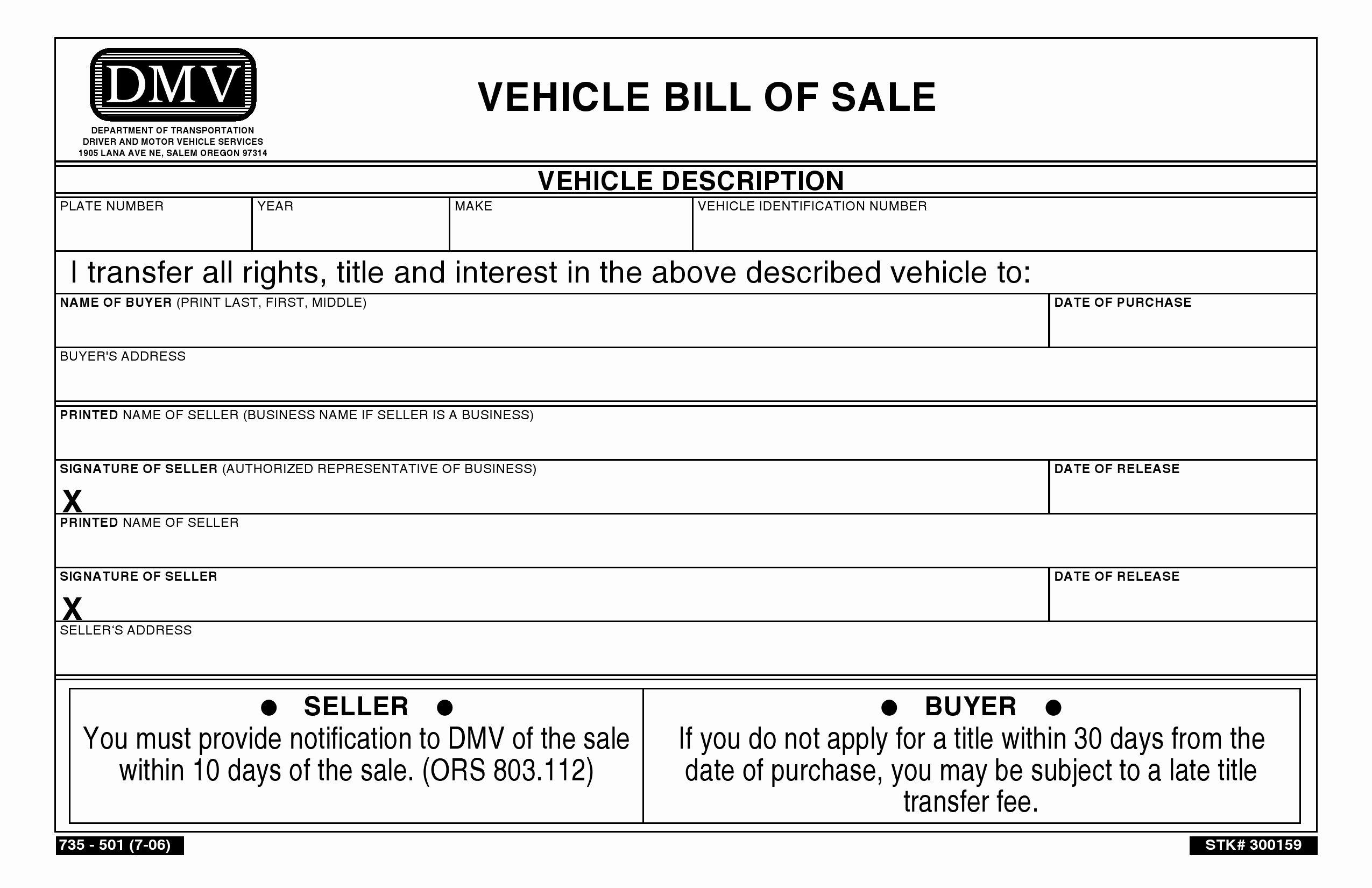 Dmv Bill Of Sales form Unique Free oregon Vehicle Bill Of Sale Pdf Word
