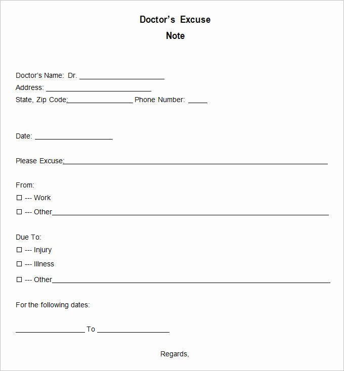 Doc Note for Work Beautiful 9 Doctor Excuse Templates Pdf Doc