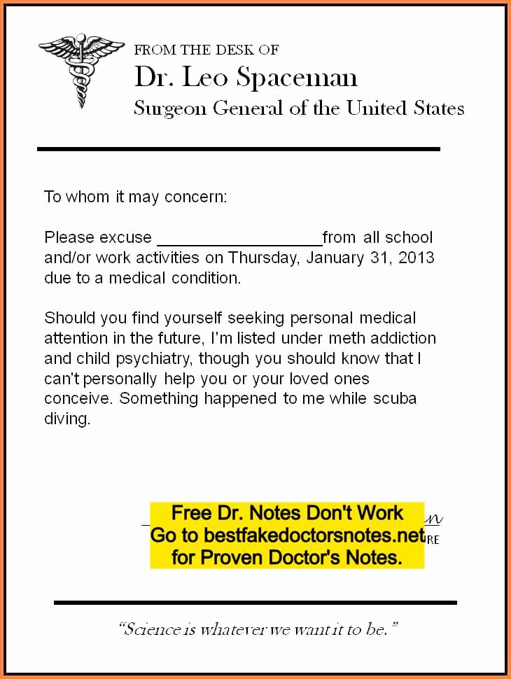 Doc Note for Work Fresh Fake Doctors Note Excuse Templates for Work & School Pdf