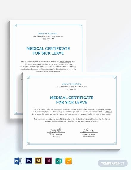 Doctor Certificate for Sick Leave Template Beautiful Sample Medical Certificate for Sick Leave 12 Examples