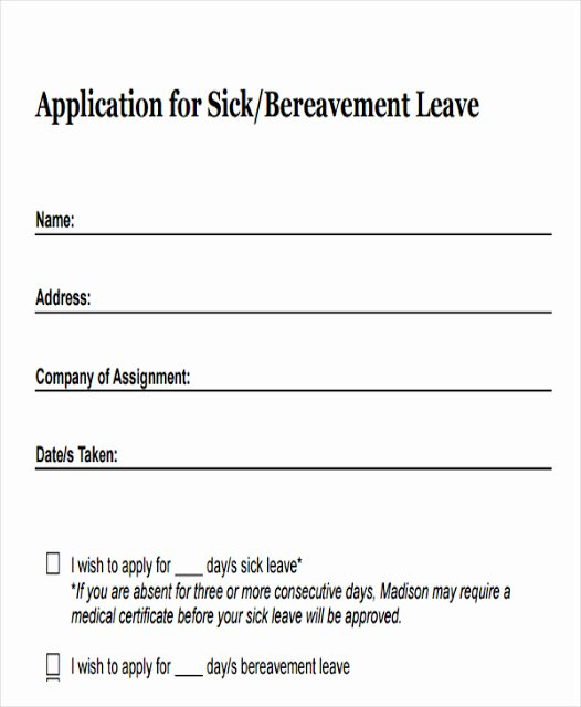 Doctor Certificate for Sick Leave Template Lovely Simple Leaves Application form Template Excel Template